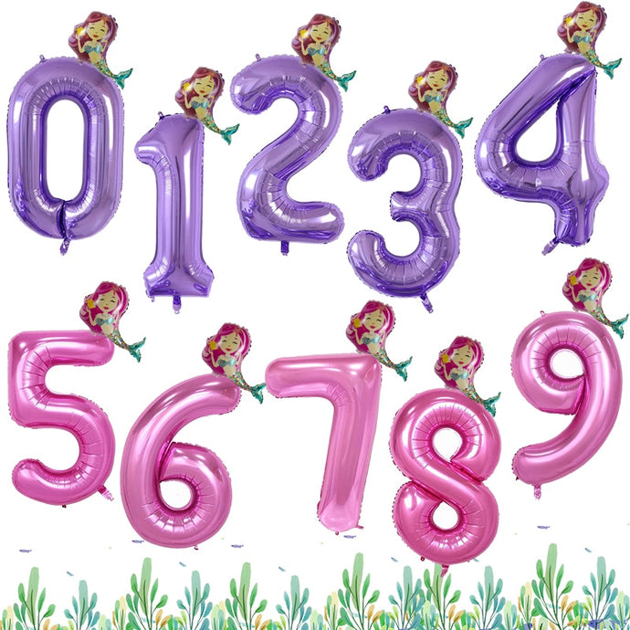 40'' Purple and Pink Number foil Balloons