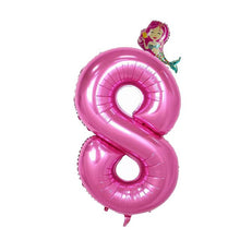 Load image into Gallery viewer, 40'' Purple and Pink Number foil Balloons