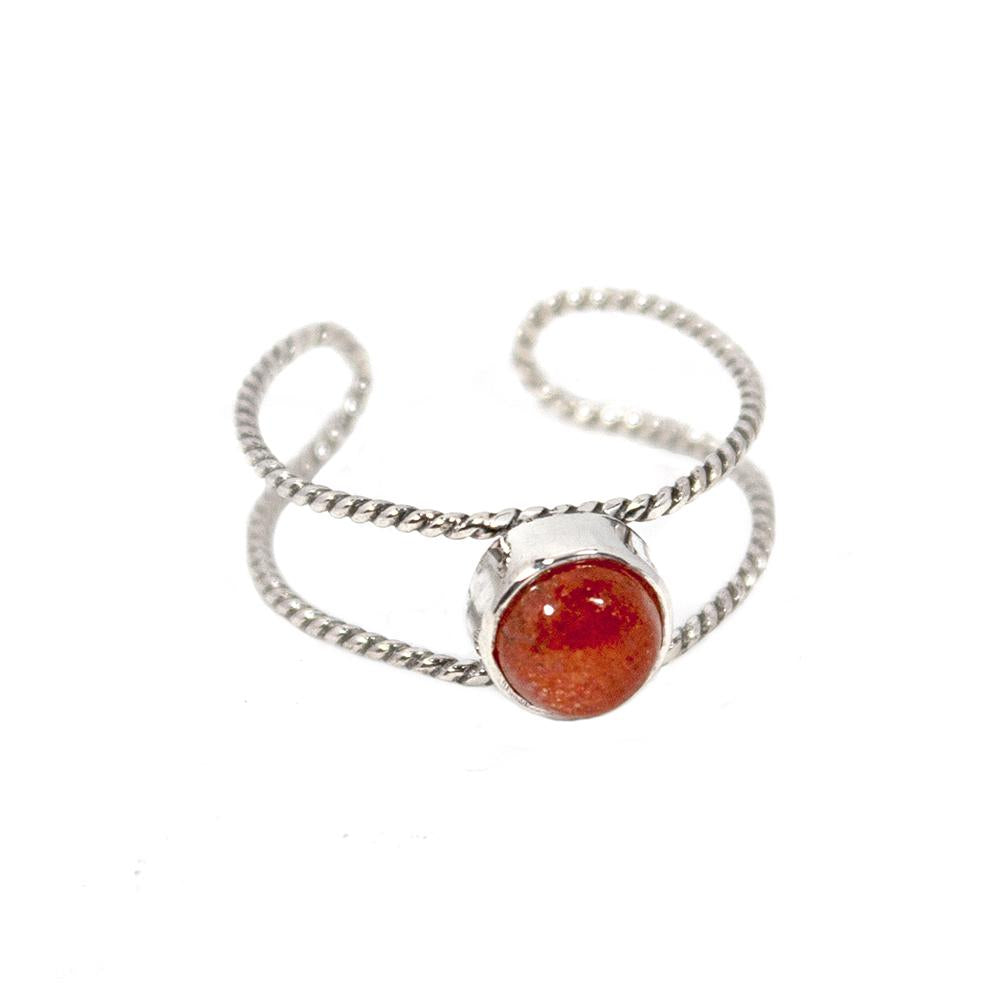 Sunstone Twisted Cuff Band Sterling Silver Ring