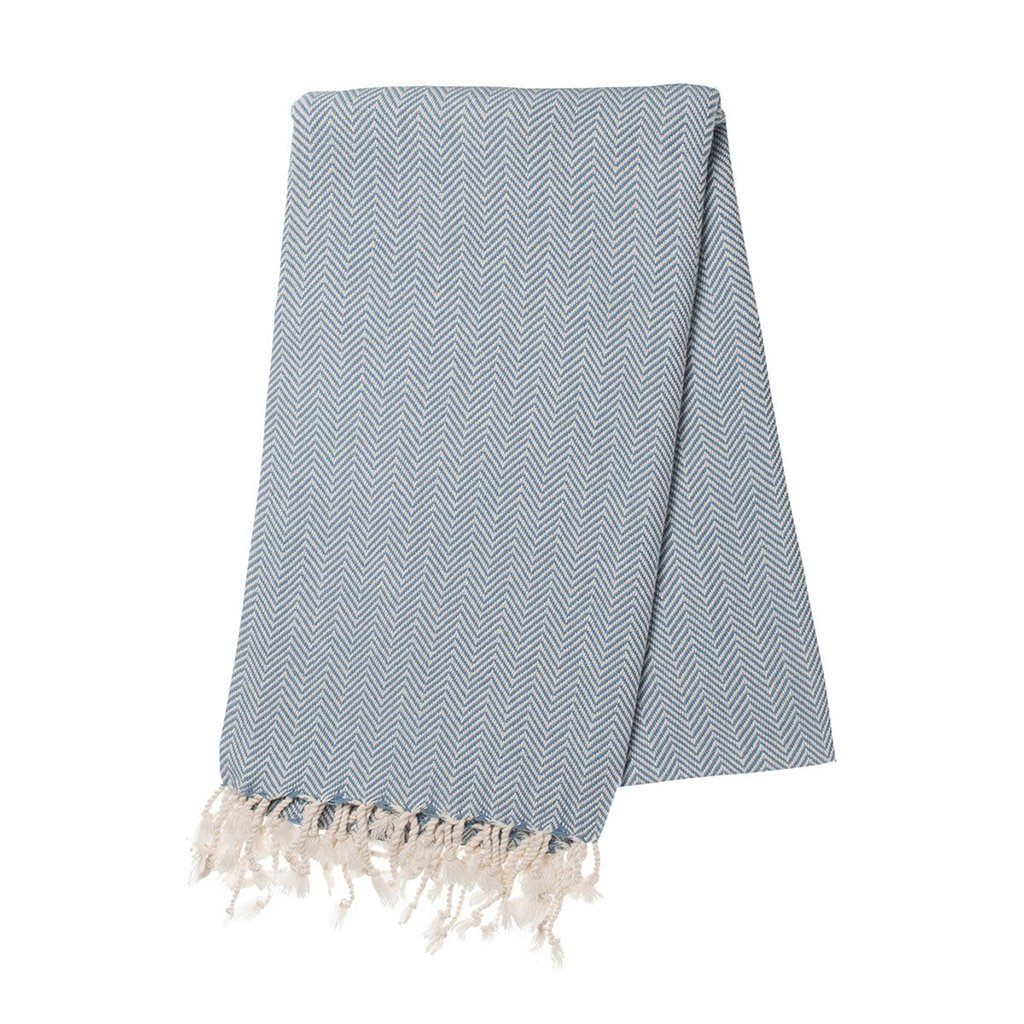 Ocean Blue Herringbone Turkish Towel