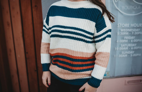 Teal Multi Stripe Sweater