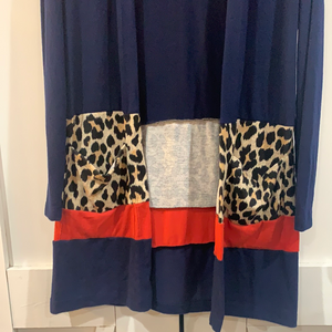 Navy Color Block Leopard Cardigan