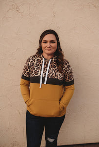 Mustard Leopard Hooded Sweatshirt