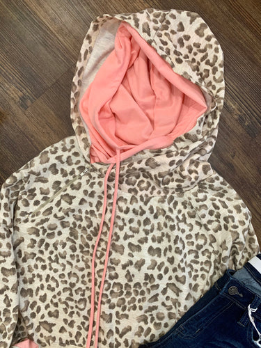 Leopard Hoodie - Pink Accent