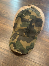 Load image into Gallery viewer, Olive Camo Crisscross Ponytail Hat