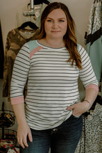 Load image into Gallery viewer, Stripe, Pink & Blue 3/4 Sleeve Top