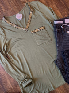Olive Long Sleeve - Sparkle Accent