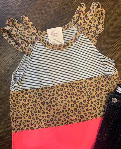Hot Pink Leopard Color Block Tank