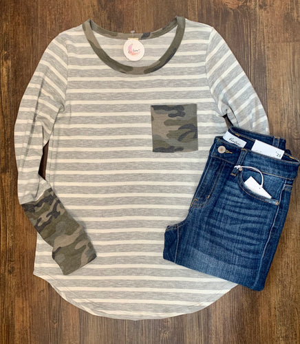 Grey Striped Long Sleeve - Camo Accents