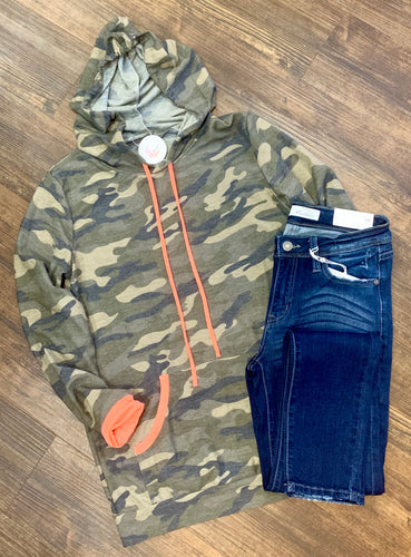 Camo Hoodie - Neon Pink Accent
