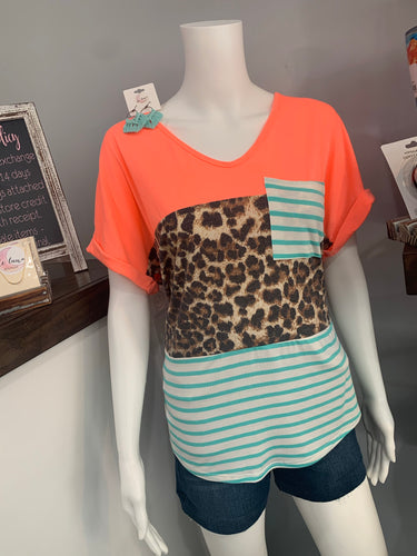 Neon Leopard Print Color Block Top