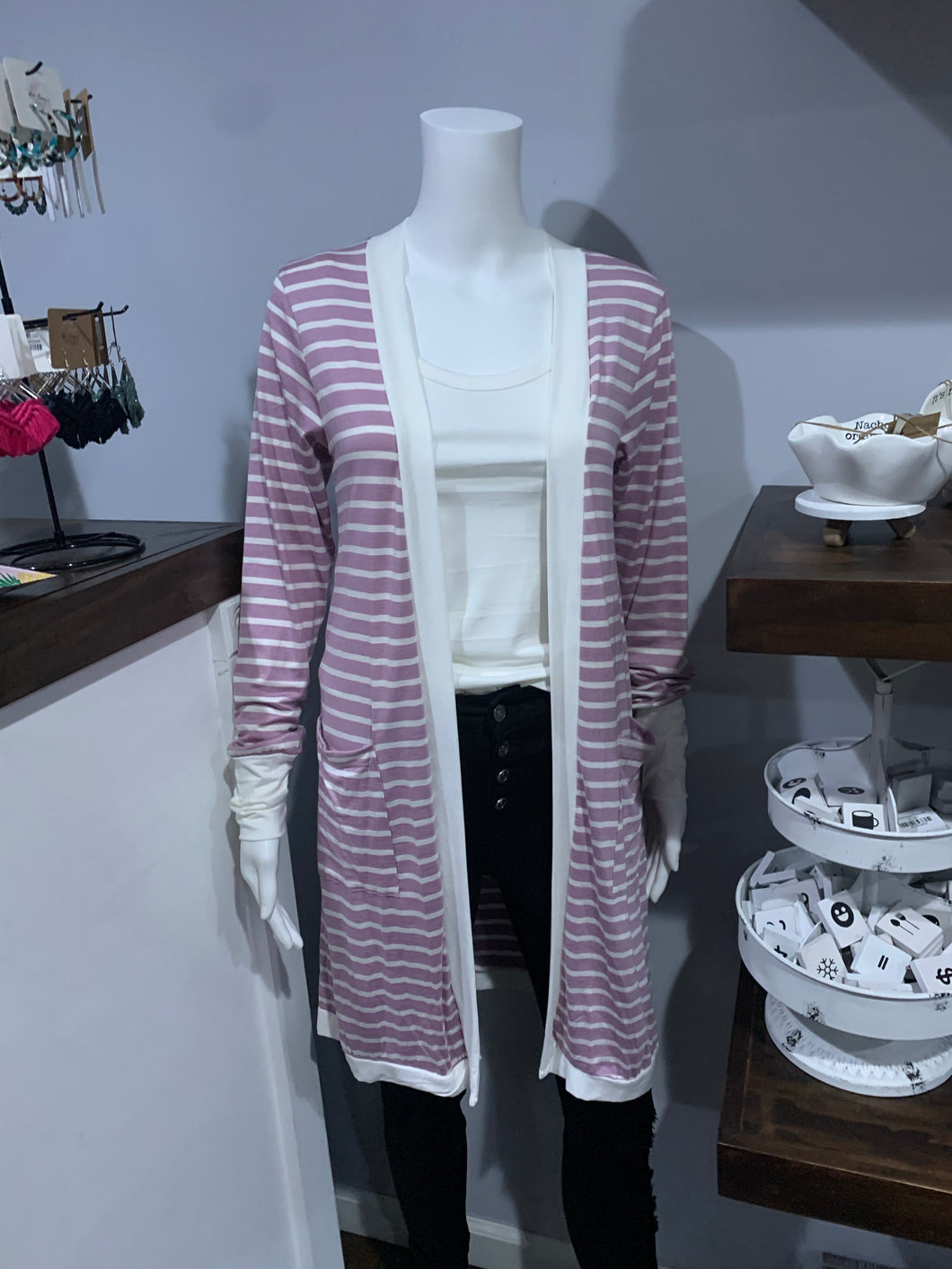 Lavender & White Striped Cardigan