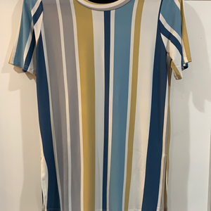 Vertical Striped Blue/Mustard/White Top