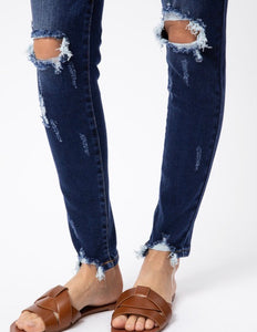 Mid Rise Super Skinny Distressed KanCans