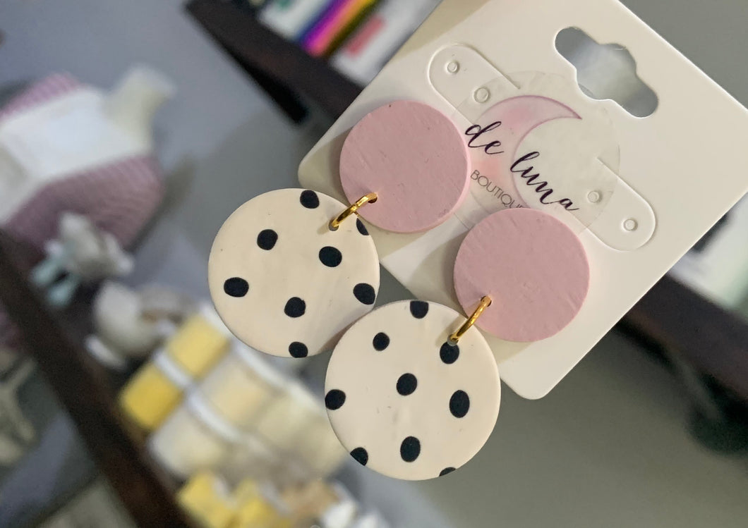 Pink & White Polka Dot Clay Dangles