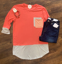 Load image into Gallery viewer, Coral 3/4 Sleeve Pocket Top