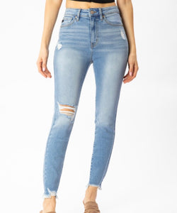 Light Wash Ankle Skinnies - KanCan - High Rise