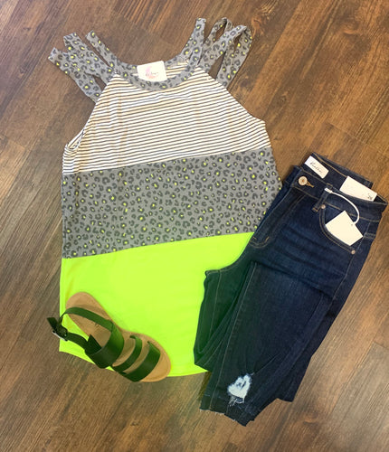 Neon Yellow Leopard Color Block Tank
