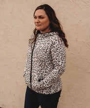Load image into Gallery viewer, Black + White Leopard Hoodie