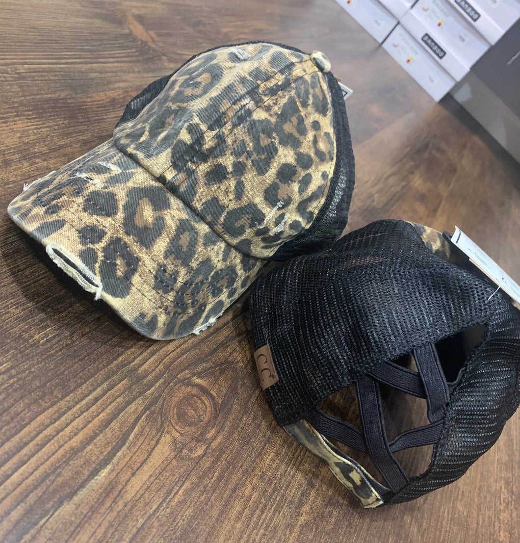 Leopard Criss cross ponytail Hat