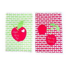 Apple & Hearts Tea Towels
