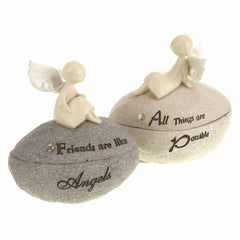 """Friends are like Angels"" / ""All things are Possible"" Angel Trinket Boxes"