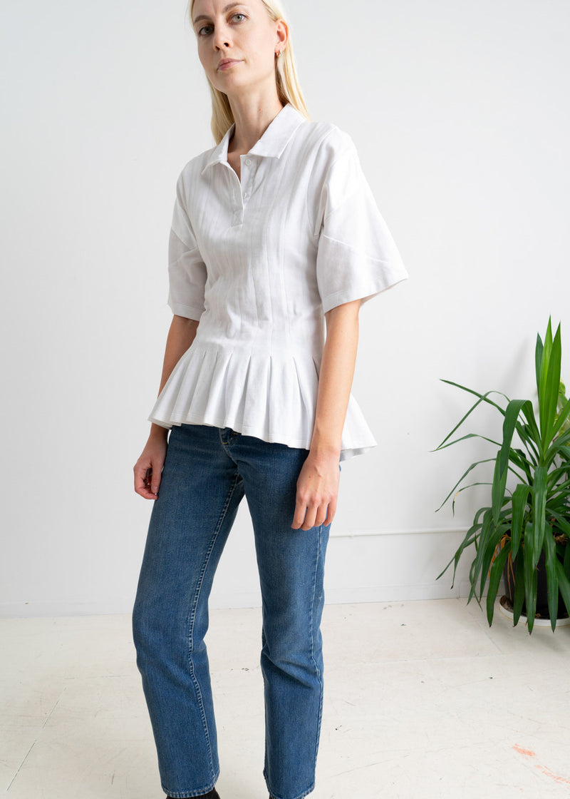 Koche White Polo Top