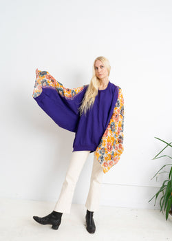Color Field Insert Sweatshirt- Purple with cotton floral Sari