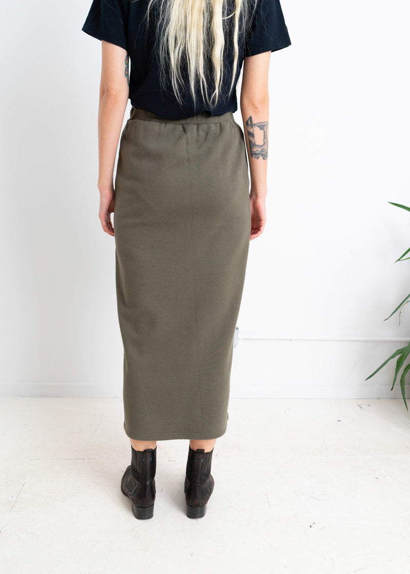 Sweatshirt Pencil Skirt- OLIVE