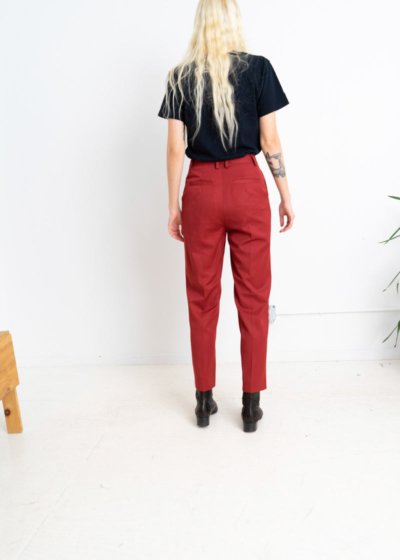 Wool tapered slim pant in Rust