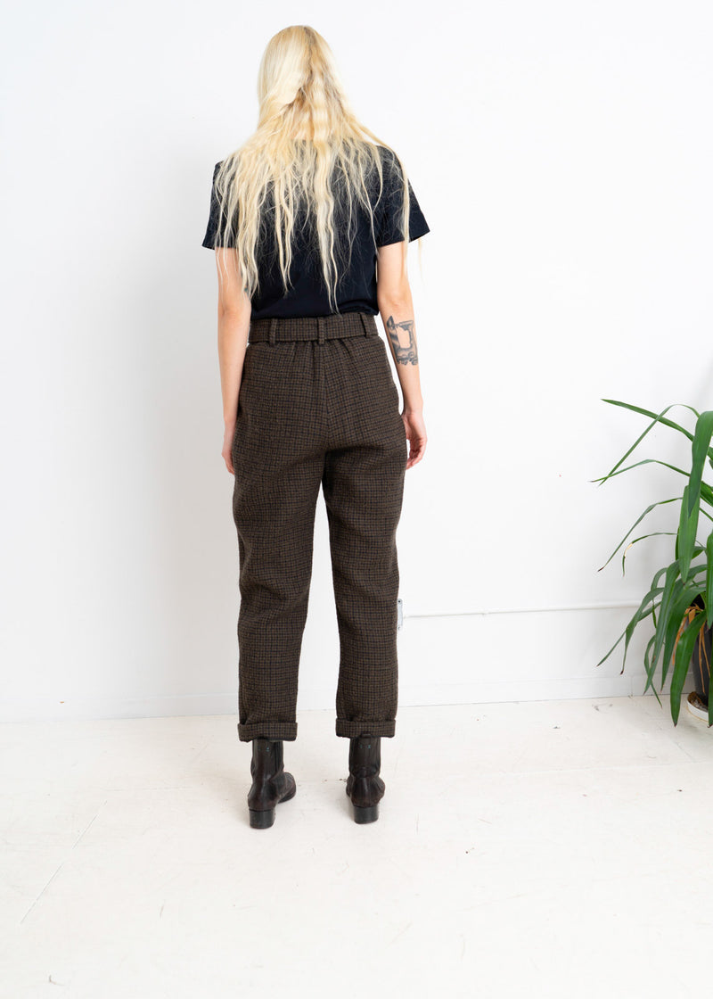 Wool plaid trousers with gather waist