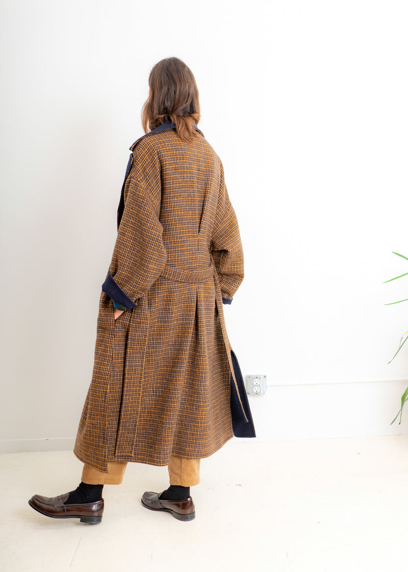 Springs Coat- Orange Navy Mini Grid