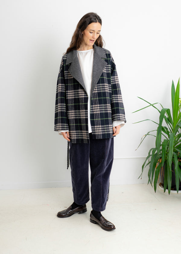 Camp Coat- Black Beige Plaid