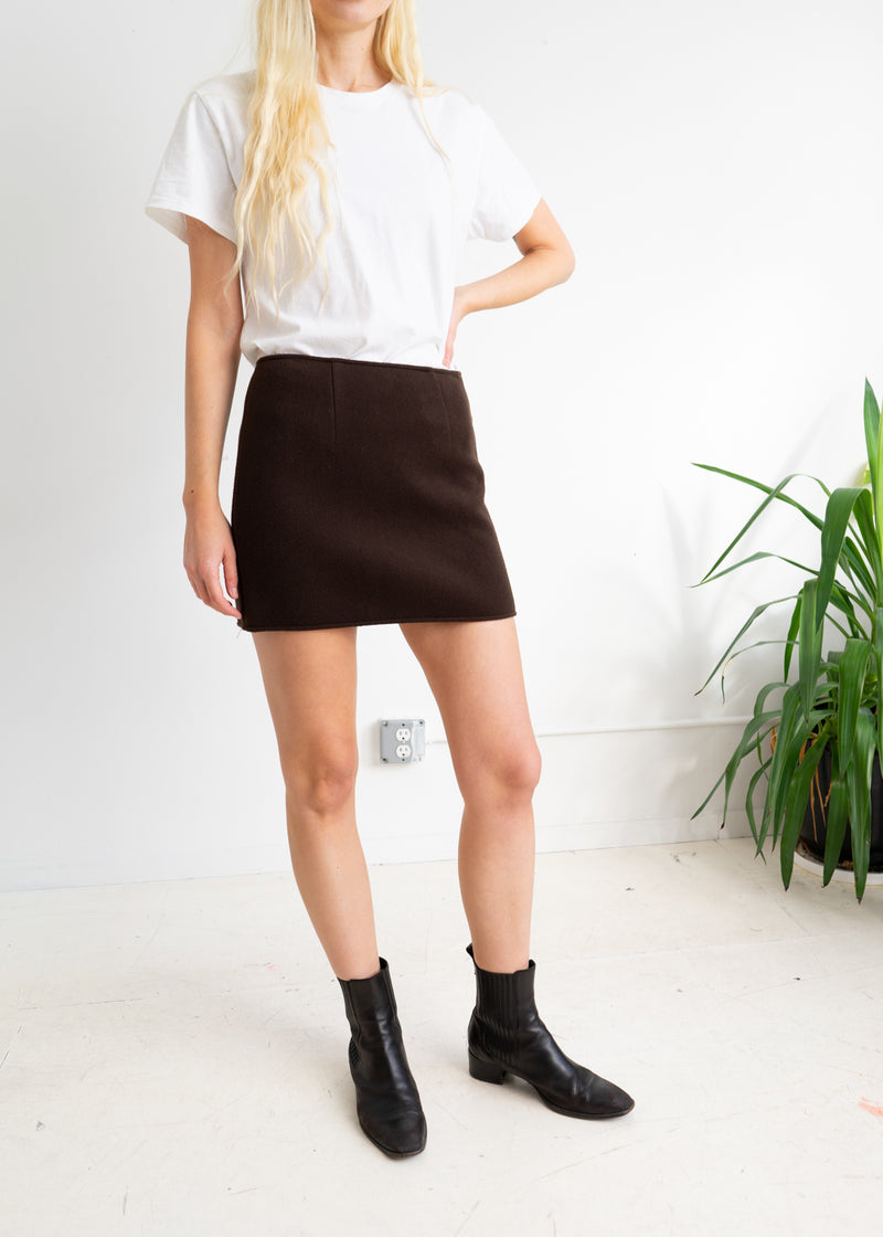 Brown Wool Cashmere Mini Skirt with side Buttons