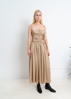 Poly Scrunch Dress-Sand