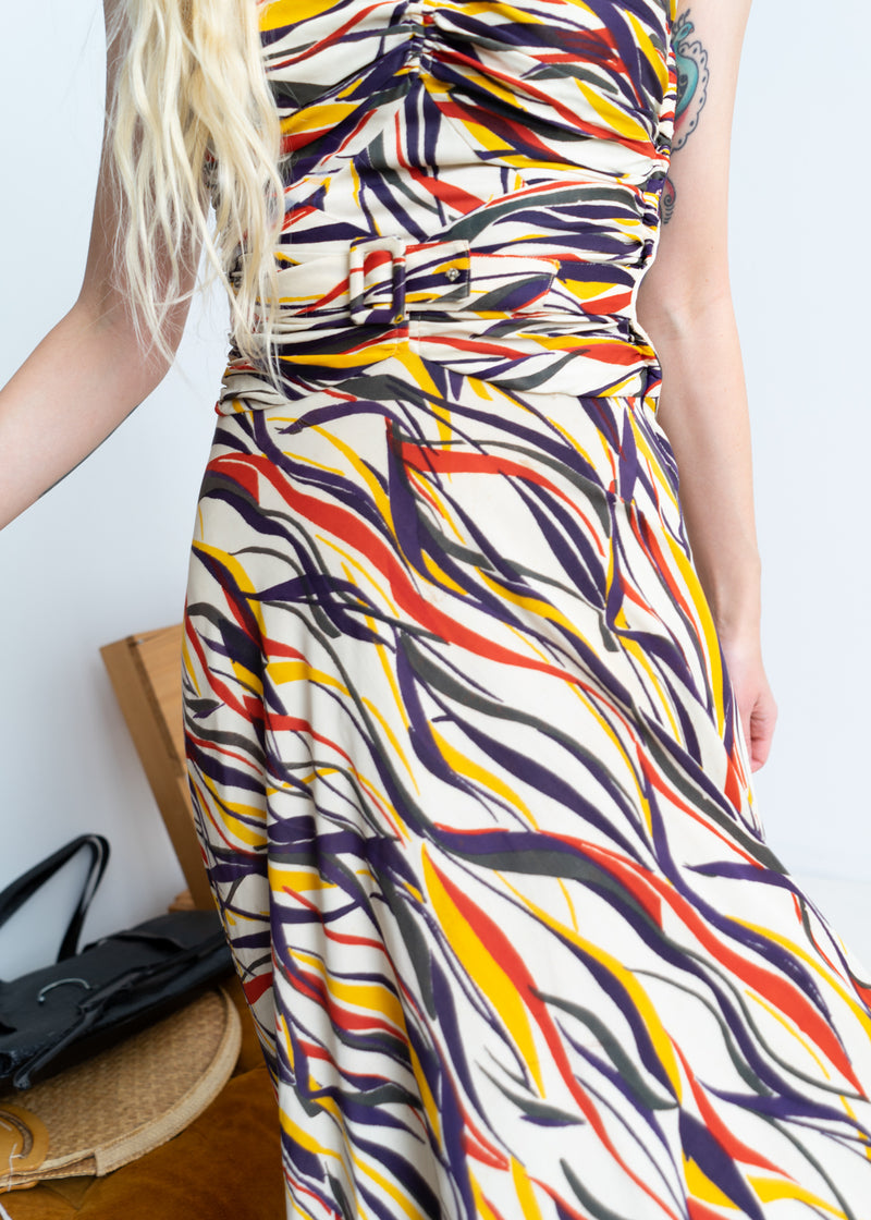Vintage Graphic Long dress from 40s