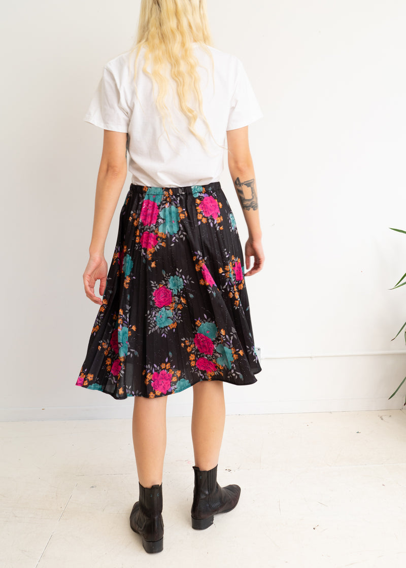 Polyester Pleated Floral Skirt