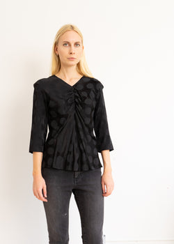 Black Viscose Dot Blouse