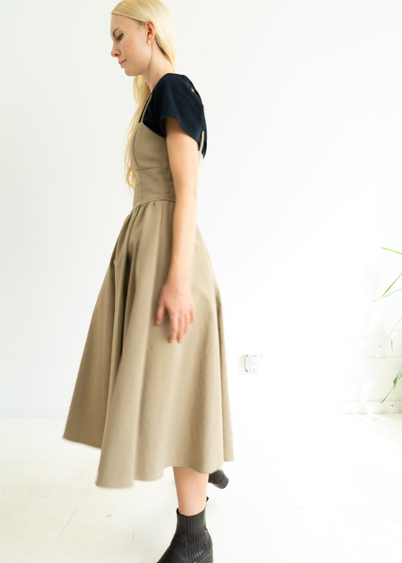 Khaki Gather Cami Dress