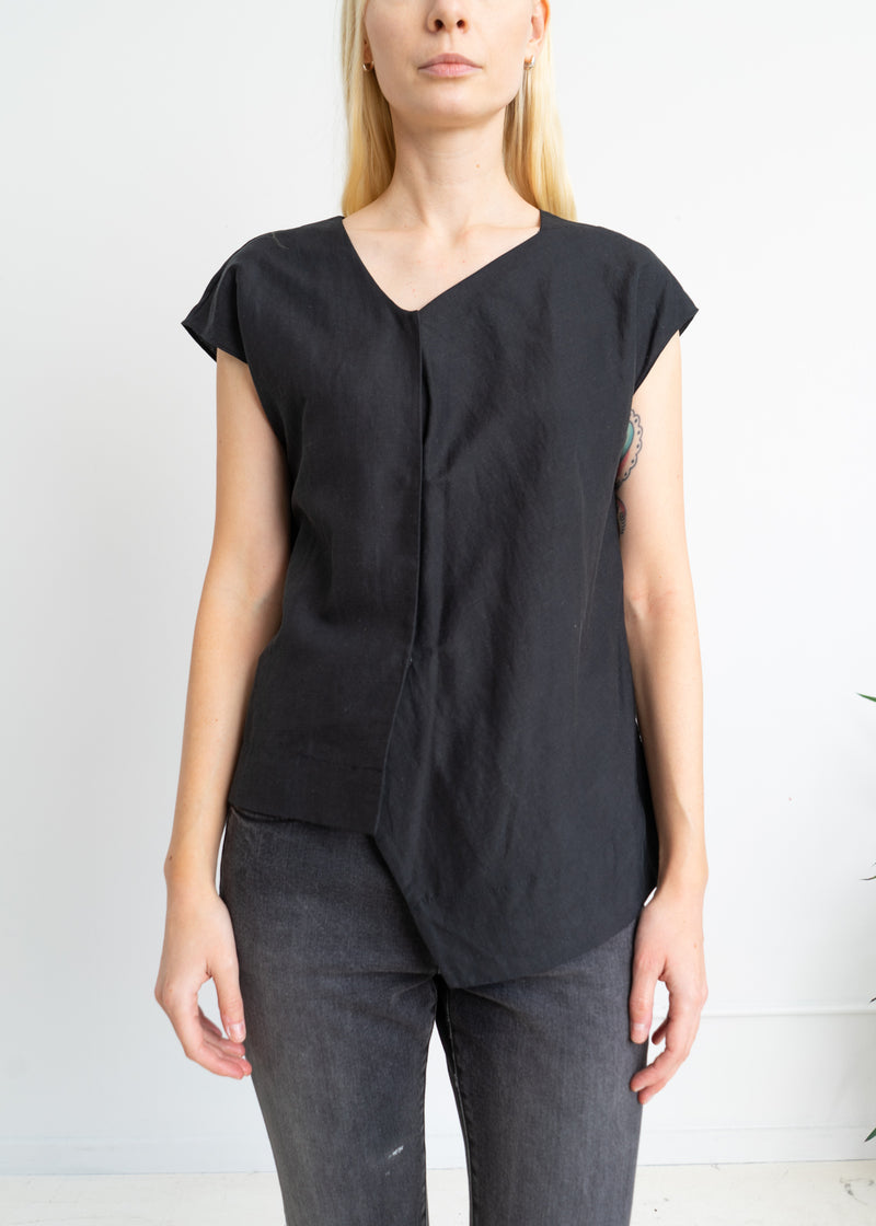 Silk Linen asymmetric top