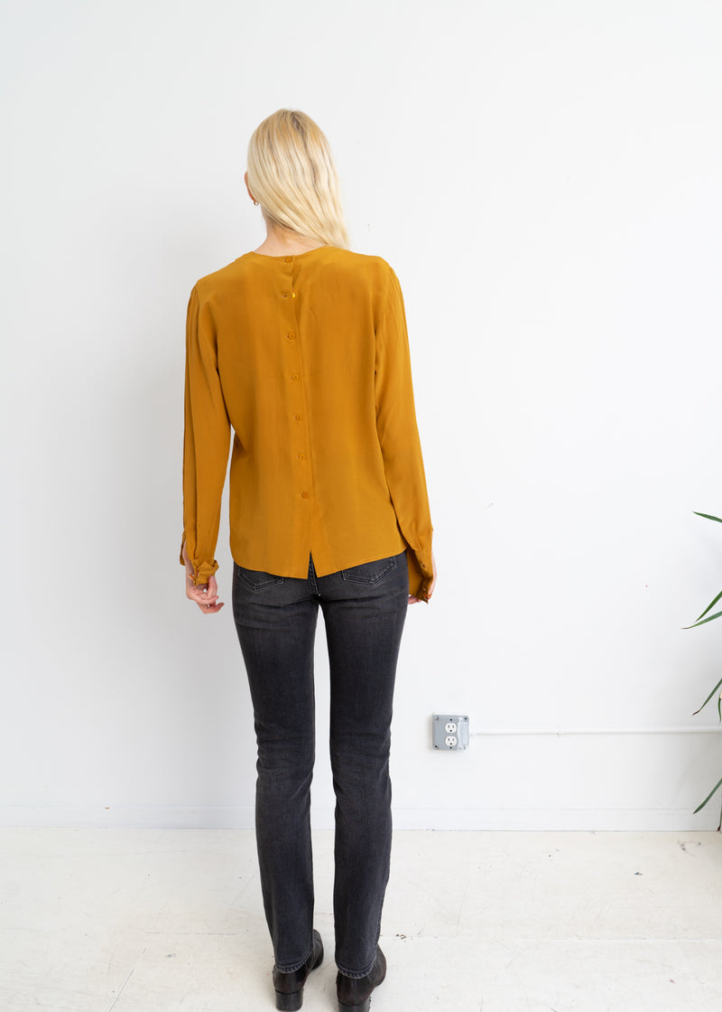 Marigold silk top with back button