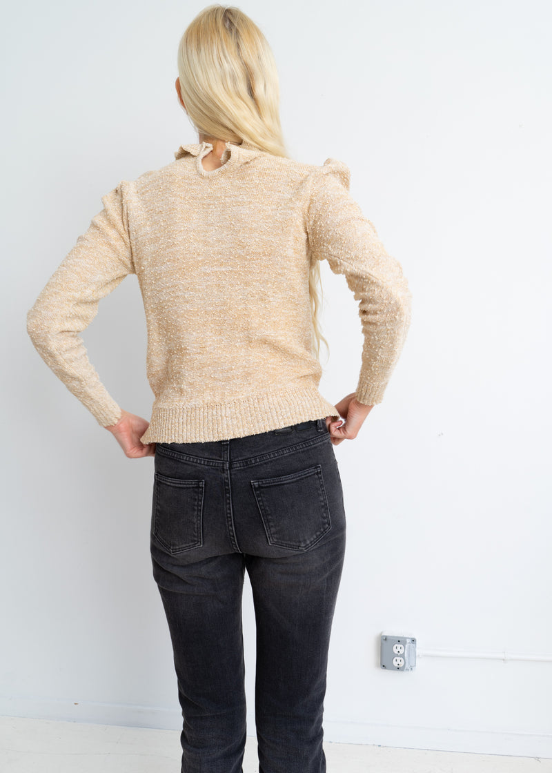 Cotton Lurex frill knit.