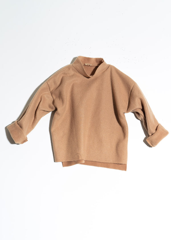 Mock Neck Sweater-Camel Fleece