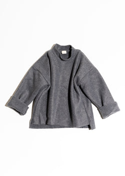 Mock Neck Sweater-Grey Fleece