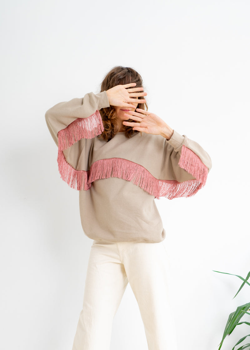 Color Field Sweatshirt- Sand with Blush Crewneck Fringe