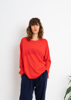 Color Field Crewneck Top- Red with Red Fringe