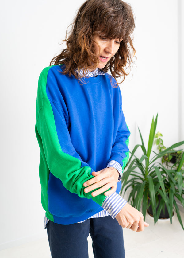 Color Field Sweatshirt- Blue and Green Down the Side