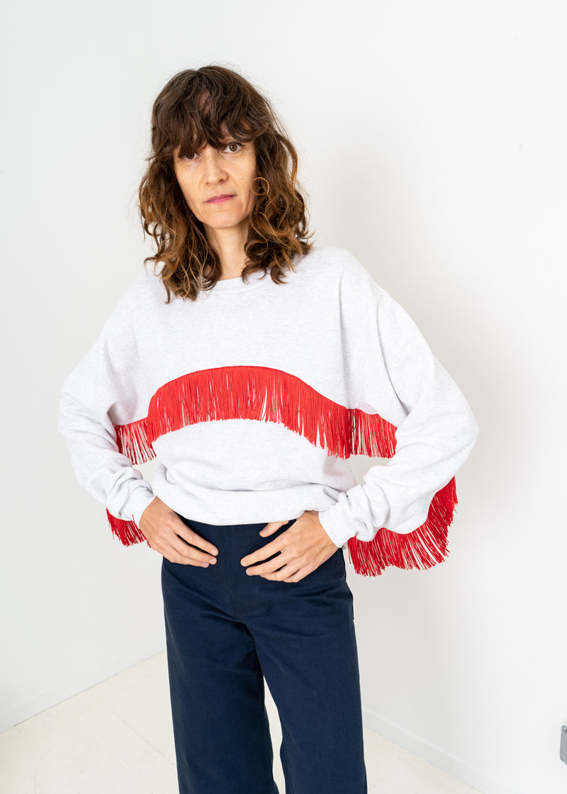 Color Field Sweatshirt- Light Heather Grey with Red Crewneck Fringe