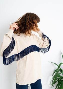 Color Field Crewneck Top- Sand with Navy Fringe