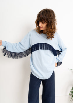 Color Field Crewneck Top- Light Blue with Navy Fringe